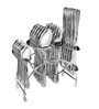 Shapes Rose (Dk) Stainless Steel Spoons and Forks 25-piece Cutlery Set With Stand