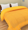 SHRA Jaipuri Block Print Yellow Cotton Abstract Double Quilt