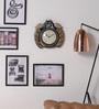 ShriNath Gold MDF 12 Inch Round Royal Mayur Handicraft Wall Clock