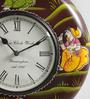 Shrinath Multicolour MDF 11.5 Inch Round Best Accent Handicraft Handmade Wall Clock