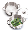 Sizzle Stainless Steel 2 L Induction Steamer with Glass Lid