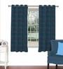 Skipper Blue Viscose & Polyester 44 x 60 Inch Eyelet Window Curtain (Model No: 090435)