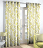 Skipper Lime Green Polyester & Cotton Nature & Floral Window Curtain - Set of 2