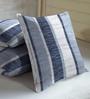 Skipper Indigo Polyester & Cotton 16 x 16 Inch Geometric Cushion Covers - Set of 3