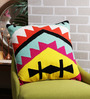 Solaj Multicolour Cotton 18 x 18 Inch Embroidered Abstract Cushion Cover