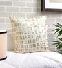 Solaj Off White Cotton 18 x 18 Inch Foil Print with Embroidered Cushion Cover