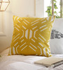 Solaj Yellow Cotton 16 x 16 Inch Embroidery Cushion Cover