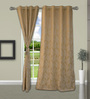 Welhome Shinny Beige Polyester 48 x 84 Inch Floral Door Curtain