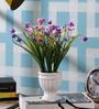 SS Silverware Multicolour Porcelain Artificial Flowers with White Design Coffe Mug Shape Flower Pot