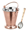 SS Silverware Stainless Steel With Copper Coating Serveware Bucket And Spoon -Set Of 2