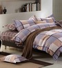 Stoa Paris Chequered Multicolour Cotton Abstract Bed Sheet (with Pillow Covers) - Set of 3