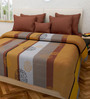 Swastika Brown 100% Cotton Queen Size Bed Cover
