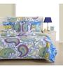 Swayam Blue Cotton Queen Size Bedding Set - Set of 4