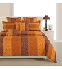 Swayam Brown Cotton Queen Size Bed Sheet - Set of 3