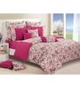 Swayam Magenta Cotton Queen Size Bed Sheet - Set of 3