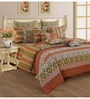 Swayam Rust Cotton Queen Size Bed sheet - Set of 3