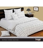 Swayam White Cotton Queen Size Bed Sheet - Set of 3