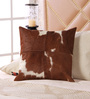 SWHF Tan & White Leather 18 x 18 Inch Cushion Cover