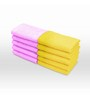Swiss Republic Pink and Yellow Cotton 11 x 11 Face Towel - Set of 10