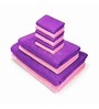 Swiss Republic Purple and Pink Cotton  Bath, Hand and Face Towel - Set of 10