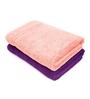 Swiss Republic Purple and Pink Cotton 28 x 59 Bath Towel - Set of 2
