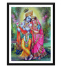Tallenge Paper 12 x 0.5 x 17 Inch Radha & Krishna Together Playing The Flute Framed Digital Poster