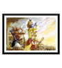 Tallenge Paper 17 x 0.5 x 12 Inch Arjun & Krishna Blowing Conch in The Mahabharata Framed Digital Poster