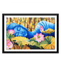 Tallenge Paper 17 x 0.5 x 12 Inch Sleeping Buddha with Lotus Flowers Framed Digital Poster