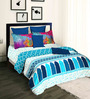 Tangerine Desi Beats Blue Cotton 108 x 98 Inch Bed Sheet Set