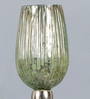 The Yellow Door Green & Silver Aluminium & Glass Small Candle Stand