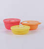 Tupperware Crystal Wave Multicolor Round Airtight Container - Set of 3