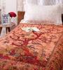 Uttam Orange Cotton Nature & Florals 84 x 54 Inch Bed Sheet