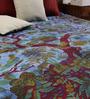 Uttam Tie-Dye Tree of Life Print Blue Cotton 90 x 83 Inch Bedsheet