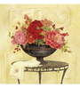 Wall Decor Canvas 24 x 24 Inch Antique Potted Flowers Framed Digital Art Print