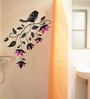 WallTola PVC Vinyl Pretty Black Bird with Flowers Wall Sticker