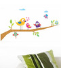 WallTola Multicolour PVC Vinyl Singing Funny Birds Wall Sticker