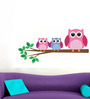 WallTola PVC Vinyl Three Owls on Branch Wall Sticker