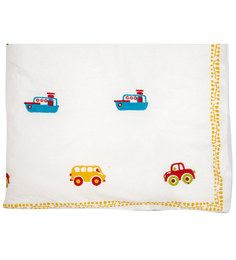 Cocobee White Ships,Cars,Truck Print Baby Quilt In White Colour