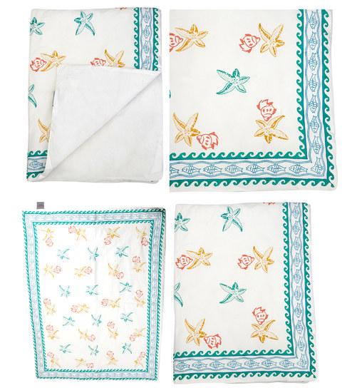 Cocobee White Seashell Aqua Border Print Baby Quilt In White Colour