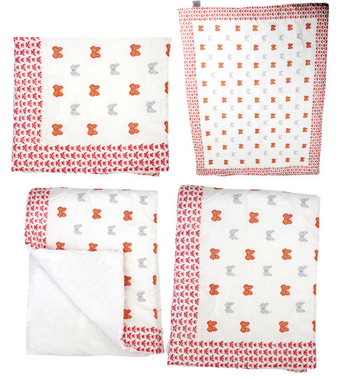 Cocobee White Pink Butterfly Print Baby Quilt In White Colour