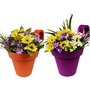 Wonderland Set of 2 : Railing Buckets in Purple & Orange