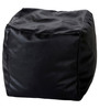 XL Puffy Bean Bag with Beans in Black Leatherette by TJAR