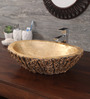 Zahab Leaf Craving Golden Wood Wash Basin (Model: C11-314)