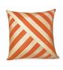Zikrak Exim Beige & Orange Polyester 16 x 16 Inch Oblique Design Cushion Cover