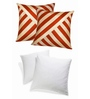 Zikrak Exim Rust & Beige Polyester 16 x 16 Inch Oblique Design Cushion Cover with Inserts - Set of 4