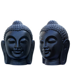 Zoe Crafts Outdoor Buddha Face In Black (Set Of 2)